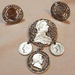 Vintage Coro Coin Demi Parure Set Brooch Earrings